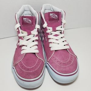 Vans Off The Wall Pink High Tops Checkers Women5.5